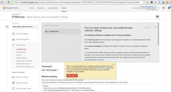 Google Analytics Get Tracking ID