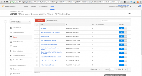 Google Analytics Conversion Goals