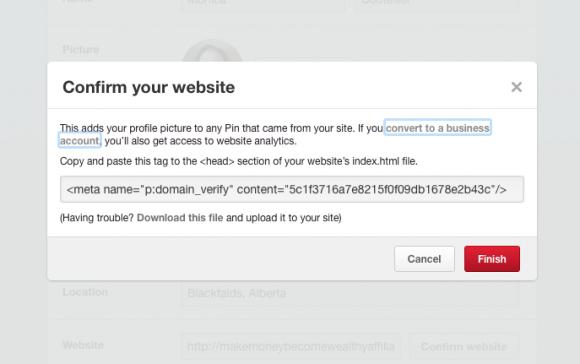 Pinterest Confirm Your Website