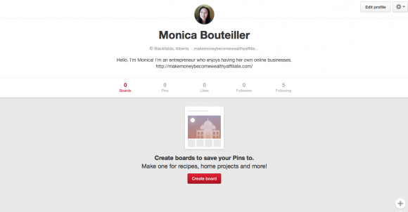 Pinterest Result After Profile Created
