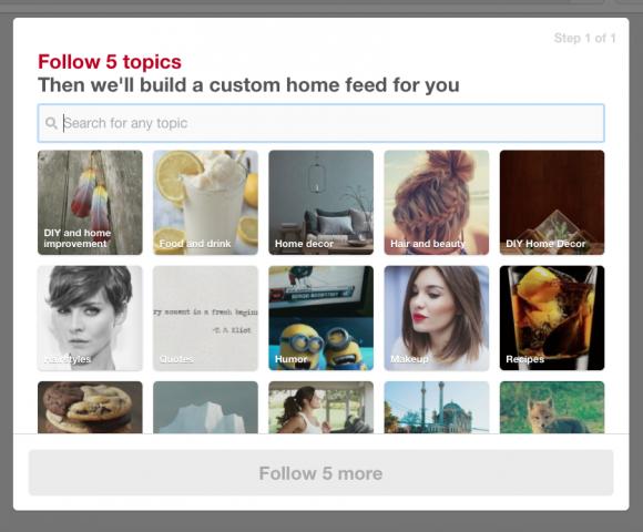 Pinterest Follow 5 Topics
