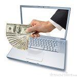 Computer Laptop Money In Hand