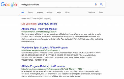 Search Volleyball Affiliate Programs